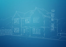Moderne huisblauwdruk Stock Afbeelding