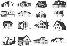 Moderne huizenpictogrammen Royalty-vrije Stock Afbeelding