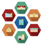 Moderne huizenpictogrammen Royalty-vrije Stock Afbeeldingen