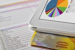 Moderne hulpmiddelen voor betaling en stats online Stock Fotografie