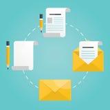 Moderne Illustration der neuen Post, Buchstabe mit Bleistift Stockfoto