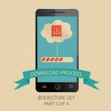 Moderne Illustration des Downloadingprozesses Bild 3 von Lizenzfreie Stockfotos