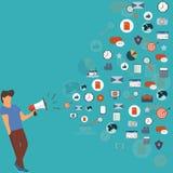 Moderne Illustration des Megaphons und der verschiedenen Ikonen für Digital-Marketing-Konzept Stockfoto