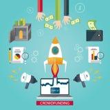 Moderne Illustration des Mengenfinanzierungsservices, neues Geschäft Lizenzfreies Stockfoto