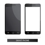 Moderne Illustration von realistischen intelligenten Telefonen auf weißem Ba Stockfotos