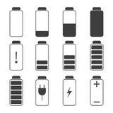 Moderne Illustration von Symbolen einer Batterieaufladung Stockbild