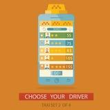 Moderne Illustration wählenden Prozeßdriv Taxi des Konzeptes Stockbild