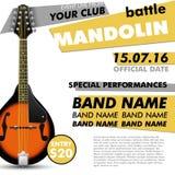 Moderne indépendant de musique folk acoustique vivante de concert de bataille d'affiche de festival de mandoline illustration de vecteur