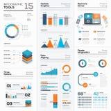 Moderne infographic bedrijfselementen en vectorhulpmiddelen Stock Foto's