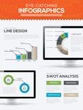 Moderne in infographic malplaatjevector met computerchronologie Royalty-vrije Stock Afbeeldingen