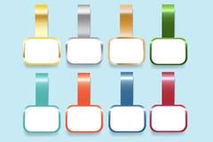 Moderne infographic Schablone als Aufkleber eines Farbstahls Stockfoto