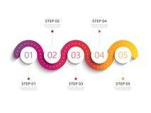 Moderne infographic Schablone 3D der kurvenreichen Straße mit einer phasenweisen Struktur Lizenzfreie Stockfotos