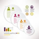 Moderne infographic Schablone für Geschäftsdesign mit Sprache balo Stockfotografie