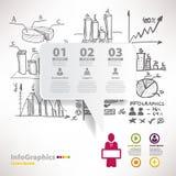 Moderne infographic Schablone für Geschäftsentwurf mit Skizze Stockfotos