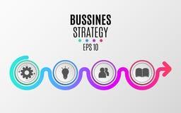 Moderne infographics Bedrijfs strategie Abstract diagram in een vlakke stijl van document realistische cirkels en lijnen Stappen  Stock Foto's