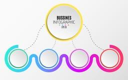 Moderne infographics voor zaken Een abstract diagram in een vlakke stijl van document realistische cirkels en gestippelde lijnen  Royalty-vrije Stock Fotografie
