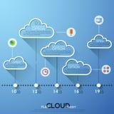 Moderne infographics Wolkenschablone für 5 Wahlen mit Ikonen lizenzfreie abbildung