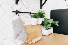 Moderne ingemaakte altijdgroene kunstmatige die installaties in binnenhuisarchitectuur worden gebruikt Keukenpunten Hakborden, vu royalty-vrije stock foto