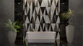 Moderne Innenarchitektur des Badezimmers 3d überträgt Illustration 3d Stockfoto