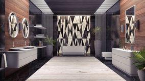 Moderne Innenarchitektur des Badezimmers 3d überträgt Illustration 3d Stockfotos