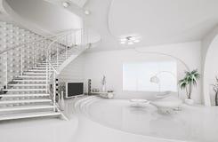 Moderne Innenarchitektur des Wohnzimmers 3d überträgt Lizenzfreie Stockfotografie