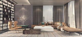 Moderne Innenarchitektur des Wohnzimmers Lizenzfreies Stockbild
