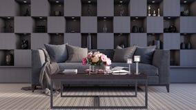 Moderne Innenarchitektur des Wohnzimmers 3d überträgt Lizenzfreie Stockfotos