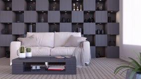 Moderne Innenarchitektur des Wohnzimmers 3d überträgt Stockfoto