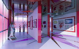 Moderne Innenausstellunghalle Stockfotografie