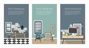 Moderne Innenfahnen eingestellt Küche, Wohnzimmer, Arbeitsplatz in der Dachbodenart Vertikale Schablonen des bunten flachen Vekto Lizenzfreie Stockbilder