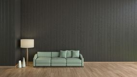 Moderne Innenwohnzimmerholzfußbodenschwarzwand mit grüner Sofaschablone für Spott herauf Wiedergabe 3d minimaler Wohnzimmerentwur lizenzfreie abbildung