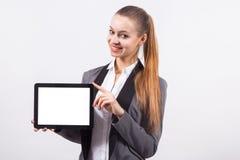 Moderne junge Geschäftsfrau in einem Anzug auf einem weißen backgr Stockbilder