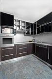 Moderne Küche in den Schwarz- und wengefarben Stockfotografie