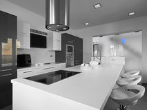 Moderne Küche in einem Schwarzweiss Stockbild