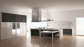 Moderne Küche Minimalistic mit Tabelle, Stühlen und Parkettboden lizenzfreies stockbild