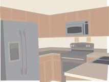 Moderne Küche in stilisiert winkligem der Nulltöne Stockbilder