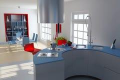 Moderne Küche und Esszimmer Lizenzfreies Stockfoto