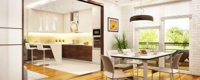 Moderne Küche und Speisen in einem großen Haus lizenzfreie abbildung