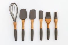 Moderne Küchengeräte, ein Satz Kuchenbackenlöffel Stockfotos
