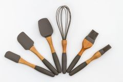 Moderne Küchengeräte, ein Satz Kuchenbackenlöffel lizenzfreie stockbilder