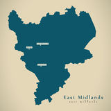 Moderne Kaart - East midlands het UK Engeland royalty-vrije illustratie