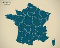 Moderne Kaart - Frankrijk met gebieden Fr royalty-vrije illustratie