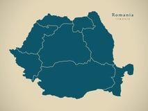 Moderne Kaart - Roemenië met gebieden RO royalty-vrije illustratie