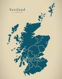 Moderne Kaart - Schotland met gebieden het UK stock illustratie