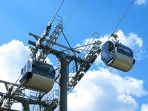 Moderne kabelbaan: rolmechanisme en cabines, close-up Royalty-vrije Stock Afbeelding