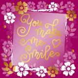 Moderne Kalligraphiebeschriftung von Ihnen lassen mich mit Herzen in Goldenem lächeln auf rosa Blumenhintergrund stock abbildung
