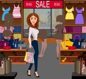 Moderne kaufende Frau ein großer Verkauf Stockfotografie