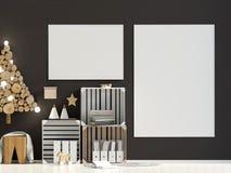 Moderne Kerstmis binnenlandse, Skandinavische stijl vector illustratie