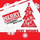 Moderne Kerstmiskaart van het stijl rode zwarte witte kleurenschema Royalty-vrije Stock Foto
