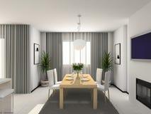 Moderne keuken. 3D geef terug Stock Foto's